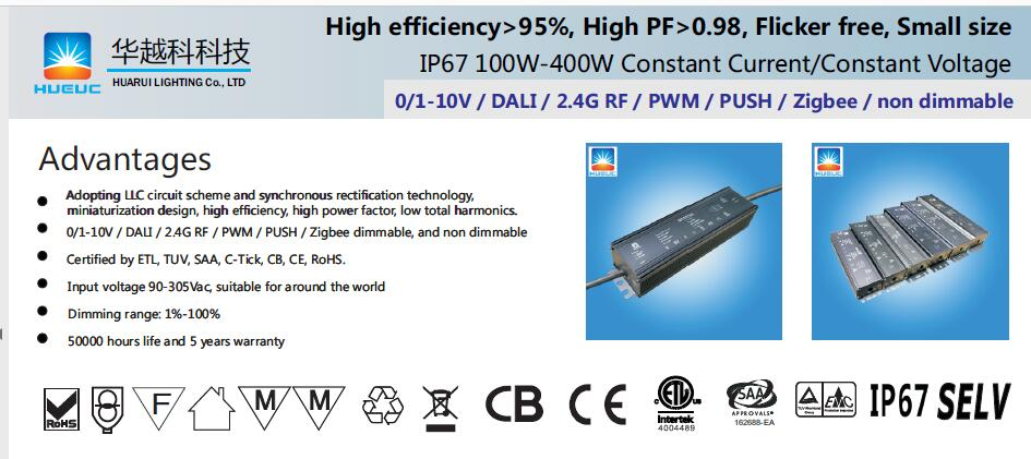 IP67 DALI300W led driver