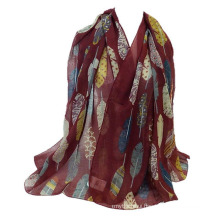 Oversize leaf pattern plain voile stole muslim hijab shawl scarf wholesale china