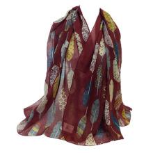 Oversize folha padrão voile simples roubou hijab muçulmano xale cachecol atacado china