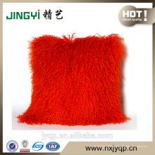 Tapis de coussin en cuir de mouton mongol tibétain maison couverture rouge