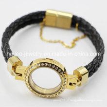 2015 moda pulseira de couro de aço inoxidável com Locket