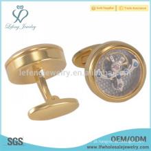 Nova chegada de ouro abotoaduras gravadas jóias, jóias de abotoaduras relógio de ouro
