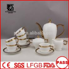 P&T 2015 new product 15pcs golden design porcelain china tea set coffee set