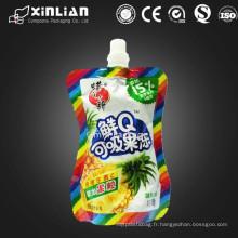 Bonne qualité jolie conception forme irrégulière gelée emballage sac en plastique avec bec