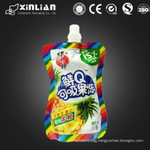 good quality nice design irregular shape jelly packaging plastic bag with spout