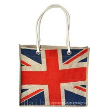 Jute Shopper mit Nationalflaggen-Druck (hbjh-18)