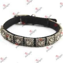 Nylon negro con los collares cristalinos del perro del remache al por mayor (PC15121407)