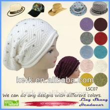 Lingshang 2015 moda personalizado beanie bonés e chapéus inverno malha beanie chapéu chapéu padrão malha para a mulher