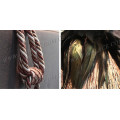 polyester curtain tassel tiebacks,brown mix creamy color yarn