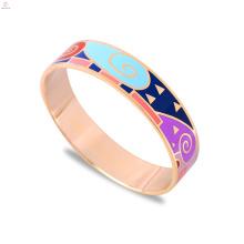 Pulsera de brazalete de esmalte de acero inoxidable de oro rosa de moda
