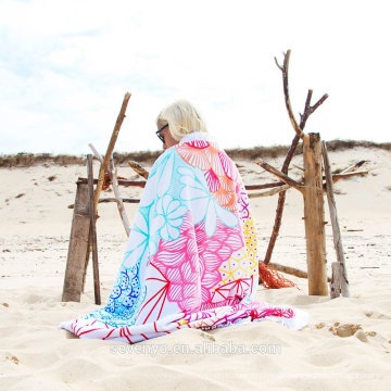 Heißer Verkauf Kundenspezifischer populärer Entwurf 100% Baumwolle runder Strandtuch BT-527 Porzellanlieferant