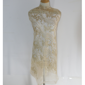 White Tulle Gold Metallic Thread Embroidery Fabric