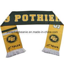 Promocionais poliéster fã de futebol cachecol, lenço de futebol barato