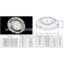 Impermeável IP68 6W subaquática led luz marinha com aço inoxidável 316
