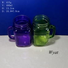 480ml 16oz Colored Glass Mason Jar Painted Glass Jar for Drinkware