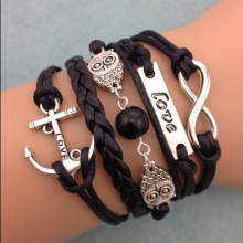 NEW Infinity Owl Love Anchor Leather Charm Bracelet