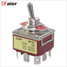 KN3C-303P 12MM 3PDT ON OFF ON 3 Way 9Pins 3 Pole Toggle Switch