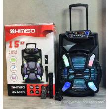 QS-A1505  15 Inch Speaker Outdoor Portable Trolley Speaker DJ Speaker System Subwoofer Sound Box With LED Light KIMISO