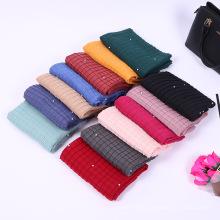 Mais recente design de fábrica tingyu inverno mulheres moda pérola hijab crinkle plissado xale cachecol hijab