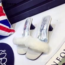 2017 new fashion fur slippers women wholesale footwear plush sandal