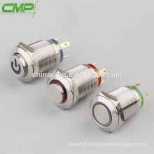 CMP Stainless waterproof momentary 12mm metal illuminated switch mini push button