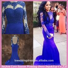 RP0071 sereia de pescoço alto sem costas verdadeira princesa azul vestidos de baile para meninas vestido de beleza sheer manga longa vestido de baile 2015