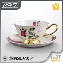 200ML Bone china coffee cup & saucer with gold rim