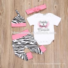 2016 pink color baby girl romper spring design 4 pcs set baby romper Zebra stripes printed short sleeve plain romper with cotton