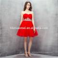 China-Fabrik-Versorgungsmaterial rote Farbe Abendkleid günstigen Preis aus Schulter feste rote Farbe Brautjungfer Kleider 2017