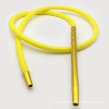 2m métal embouchure forme jaune narguilé silicone shisha tuyau (ES-HH-016-4)