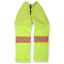 Pantalon en polyester et coton vert lime avec fond en filet