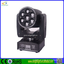 Night Club Rotating Luz DMX 512 7 * 12w RGBW mini Dj movendo cabeças Zoom Wash Light