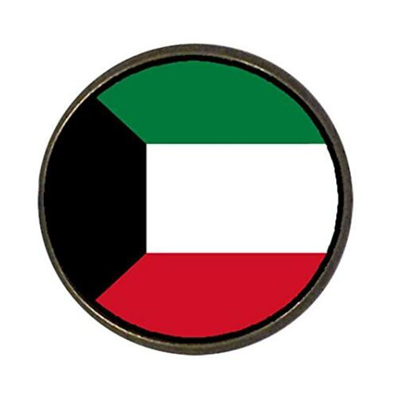 Kuwait Flag Round Pin Brooch