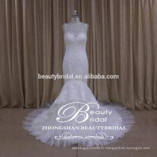 See-through retour sirène robe de mariée usine directe bordé alibaba robe de mariée