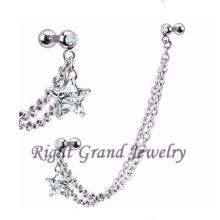 Clear Star Zircon Body Jewelry Piercings de cadena del oído