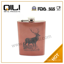 8OZ Stainless Steel Colored Hip Flask/8OZ Deer Flask