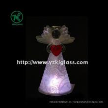 Ángulo de cristal que sostiene el corazón para la decoración de la Navidad por BV, SGS (7.8 * 8.5 * 15 cm)