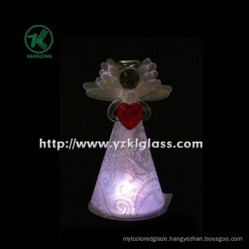 Glass Angle Holding Heart for Christmas Decoration by BV, SGS (7.8*8.5*15 cm)