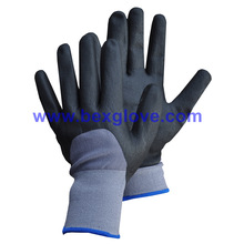 15gauge Nylon / Spandex Liner, Nitrile Coating, 3/4, Micro-Foam Safety Gloves
