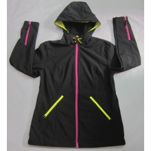 Yj-1072 Ladies Black Fleece Waterproof Breathable Softshell Jacket with Hood Women′s