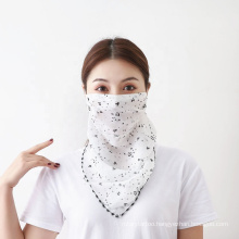 2020 Protection Women Chiffon Earloop Face Mask Veil Shield Neck Scarf Cover Floral Print Cycling Face Mask