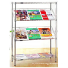 Free Stand Office Furniture Chrome Metal Wire Tabloid Newspaper Rack for Sale