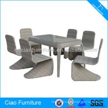 Conjunto de jantar de design moderno de tubo de alumínio de mobiliário ao ar livre