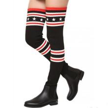 Сексуальные девушки черный стрейч зима высокий каблук сапоги зимние сапоги
