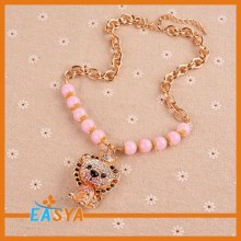 Cute Lion Shape With Pink Beads Chain Pendant Necklaces