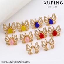91609 Xuping New Fashion Edelstein Ohrring, künstliche Diamant-Schmetterling-Ohrstecker