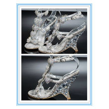 Latest Style Peep Toe Silver Crystal Wedding Shoes(WS-5007)