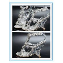 Último estilo pío zapatos de plata de cristal de la boda del dedo del pie (WS-5007)