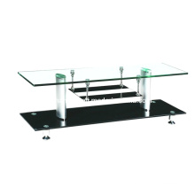 Glass Coffee Table Aluminum Tube and Modern Living Room Furniture