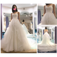 Vestido de Noiva 2016 Appliques Lace Tulle Tieres Customize Vestido Longo White Sleeveless Ball Gown Wedding Dress A224